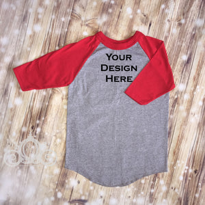 CUSTOMIZE ME! Red/Gray Unisex Raglan