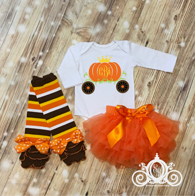 Pumpkin Carriage Princess Monogram Onesie Set