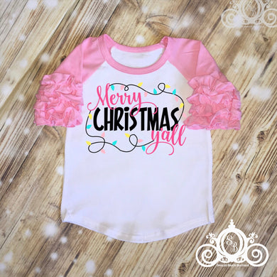 Merry Christmas Yall Girls Christmas Ruffle Shirt