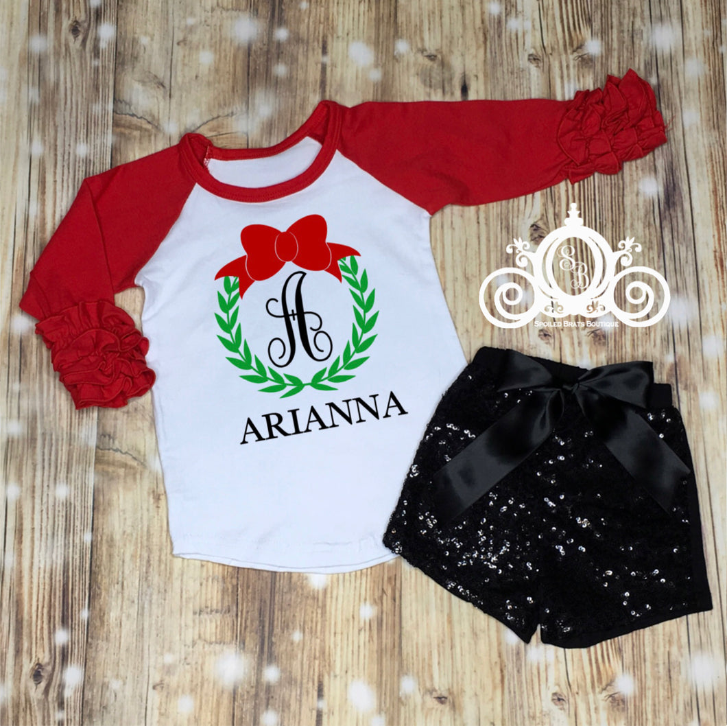 Wreath Monogram Girls Ruffle Shirt Set