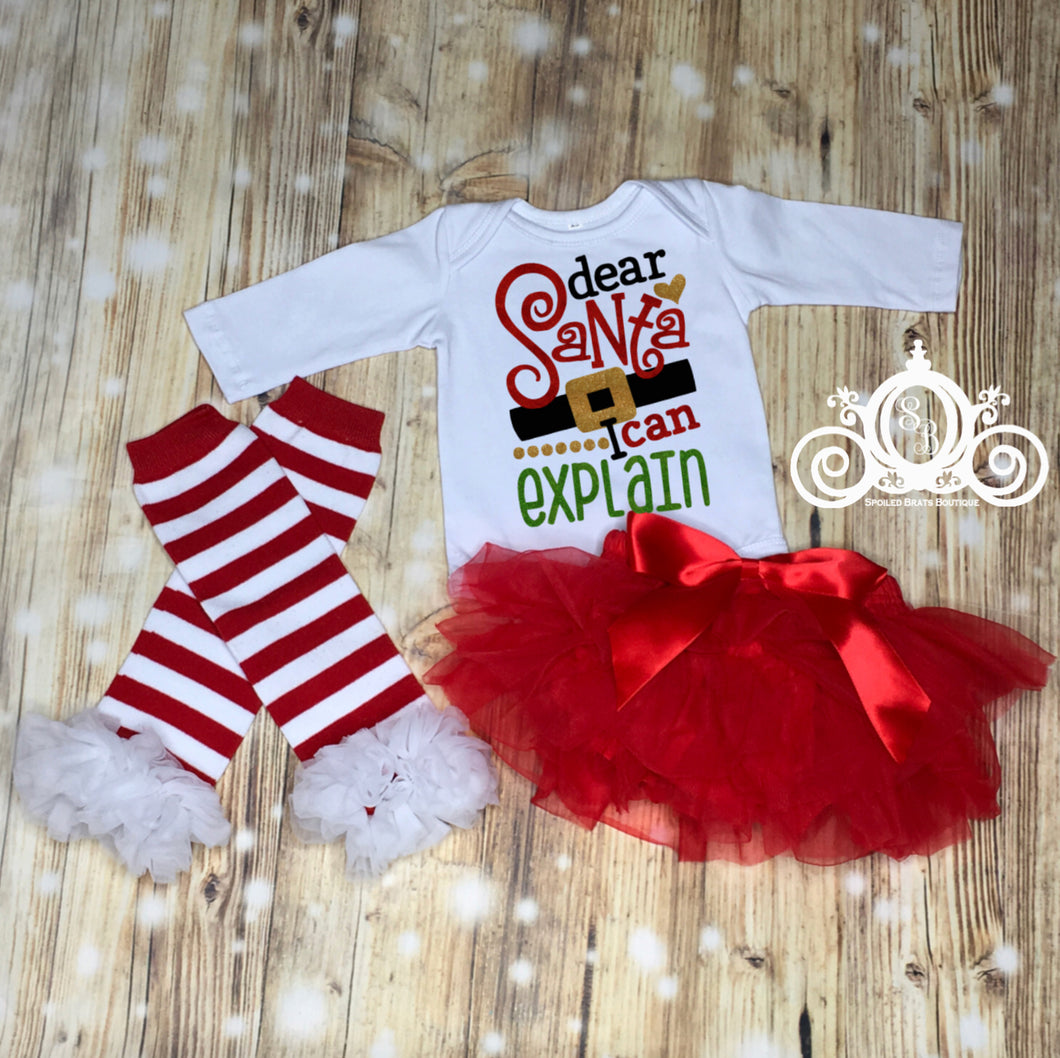 Dear Santa, I Can Explain Onesie Tutu Set