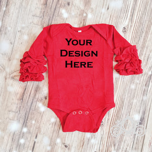 CUSTOMIZE ME! Red Icing Ruffle Sleeve Bodysuit