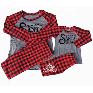 Santa Squad Buffalo Plaid/Gray Matching Family Christmas Pajamas