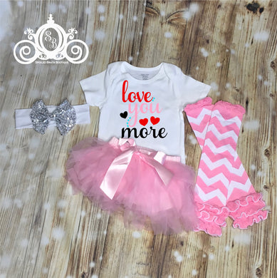 Love You Valentines Onesie Tutu Set