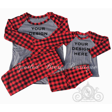 Buffalo Plaid/Gray Matching Family Christmas Pajamas