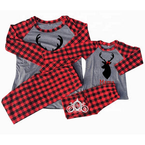 Mama Daddy Baby Deer Buffalo Plaid/Gray Matching Family Christmas Pajamas