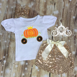 Pumpkin Princess Monogram Shirt Set