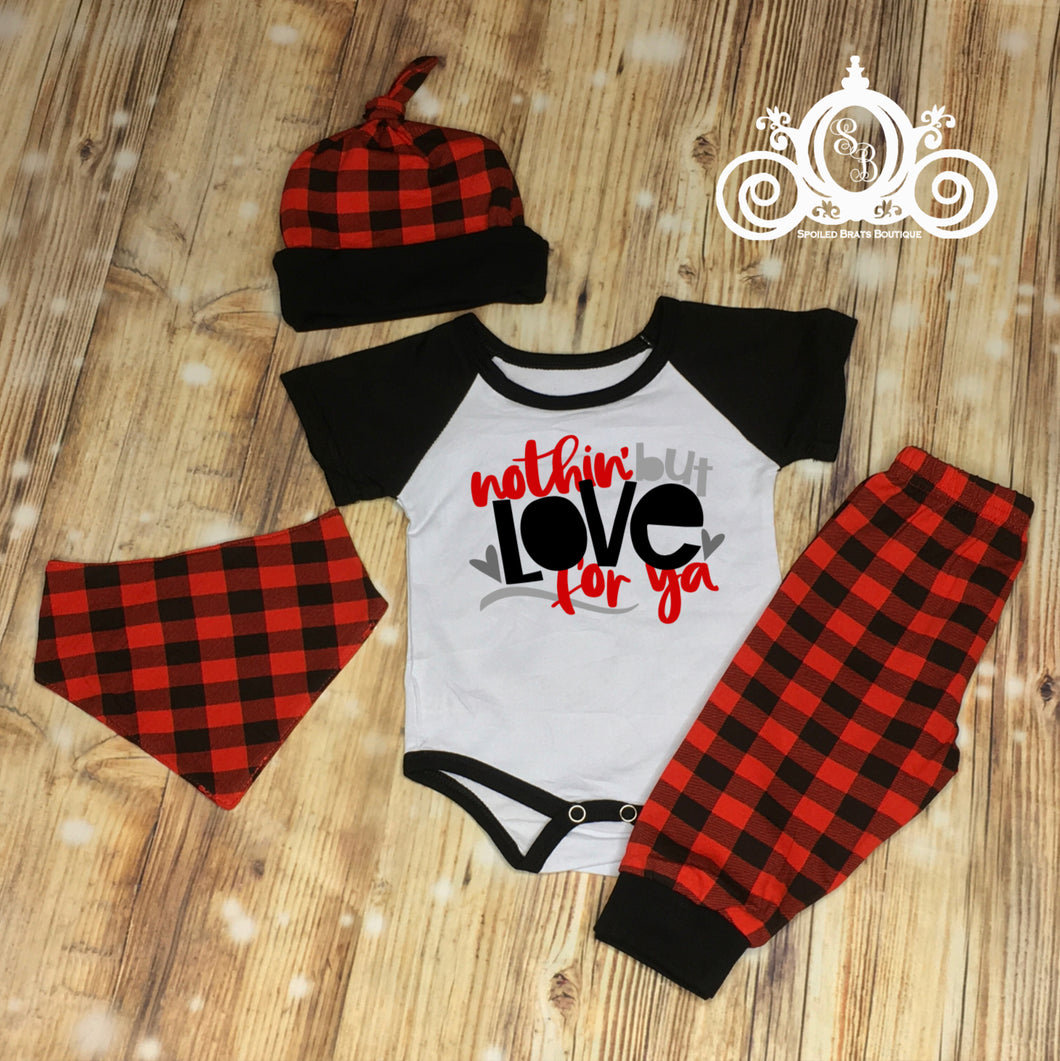 Nothin But Love For Ya Valentines Buffalo Plaid Set