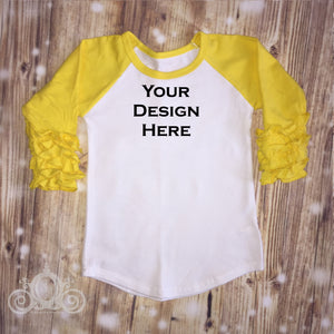 CUSTOMIZE ME! Yellow Icing Ruffle Raglan