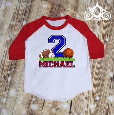 Sports Balls Birthday Boys Personalized Tshirt