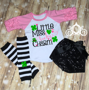 Little Miss Lucky Charm Girls St Patty's Day Outfit