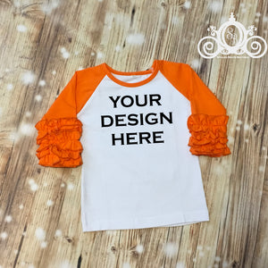 CUSTOMIZE ME! Orange Icing Ruffle Raglan