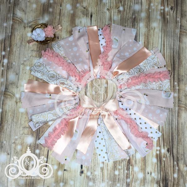 Royal Swan Peach/Gold/White Shabby Fabric Tutu w Headband