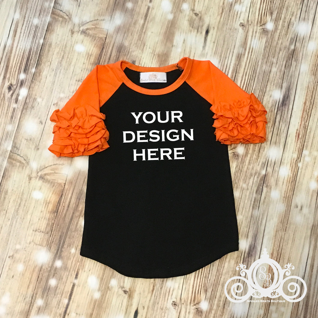 CUSTOMIZE ME! Orange/Black Icing Ruffle Raglan