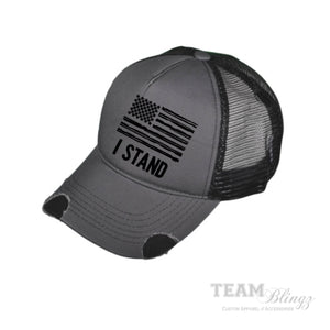 I STAND NATIONAL ANTHEM AMERICAN PRIDE FLAG TRUCKER HAT