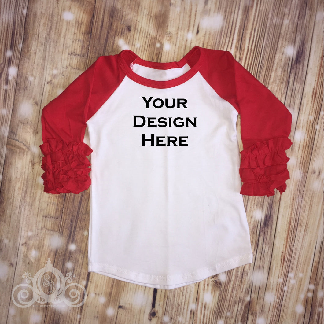 CUSTOMIZE ME! Red Icing Ruffle Raglan