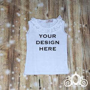 CUSTOMIZE ME! White Ruffle Tank