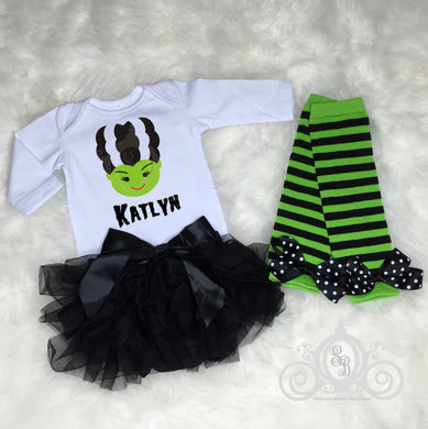 Bride of Frankenstein Baby Halloween Onesie Tutu Set