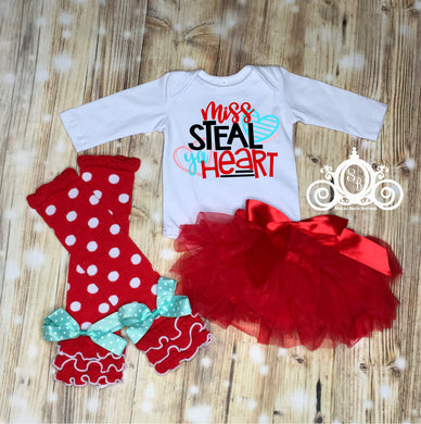 Miss Steal Ya Heart Valentines Onesie Tutu Set
