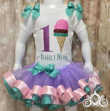 Ice Cream Birthday Ribbon Trim Tutu Set