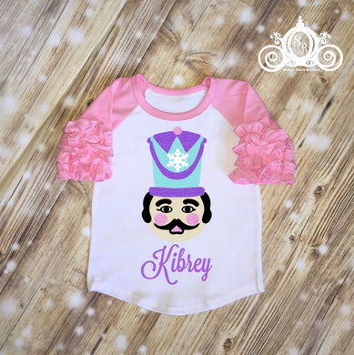 Girls Nutcracker Monogram Ruffle Shirt