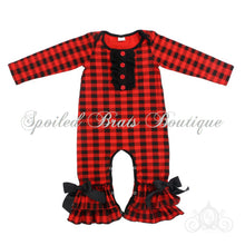 Baby Girls Red/Black Buffalo Plaid Christmas Ruffle Romper