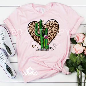 Leopard Heart Cactus Graphic Tee