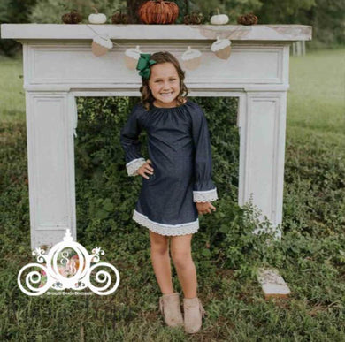 Denim & Lace Girls Dress