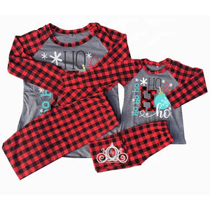 Ho Ho Ho Buffalo Plaid/Gray Matching Family Christmas Pajamas
