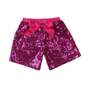 Girls Hot Pink Sequin Shorts