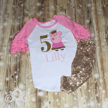 Peppa Pig Glitter Birthday Shirt