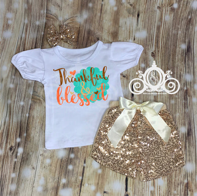Thankful & Blessed Girls Shirt