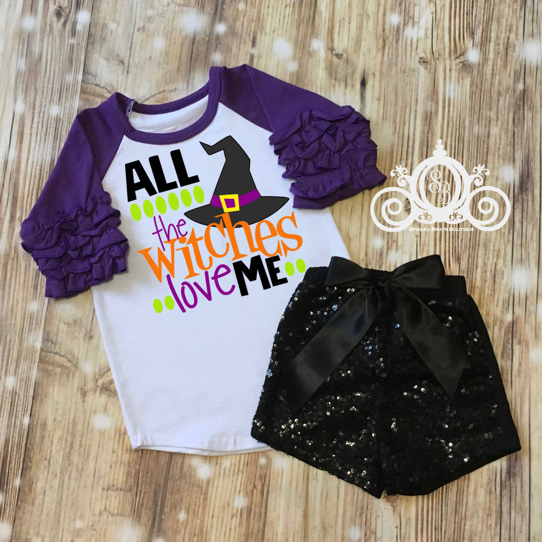 All the Witches Love Me Girls Halloween Shirt