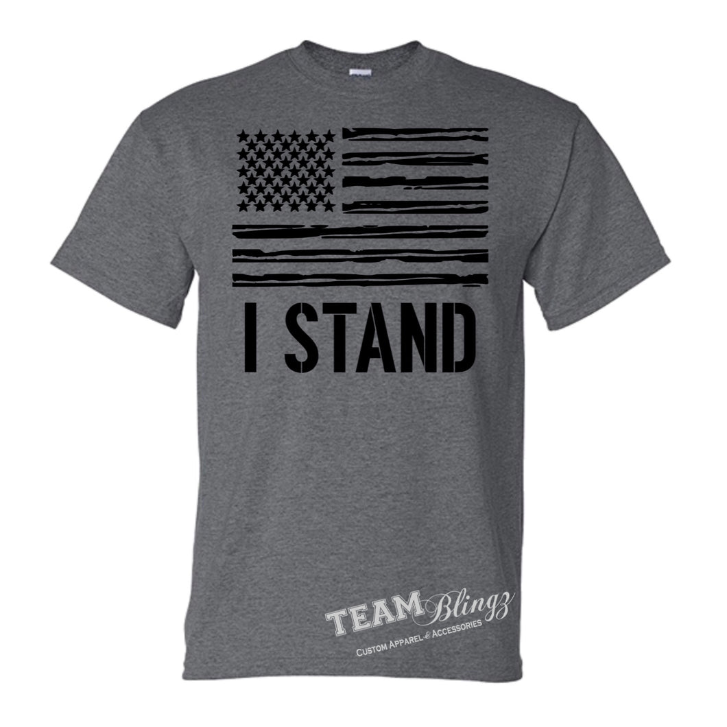 I STAND NATIONAL ANTHEM AMERICAN PRIDE FLAG TEE