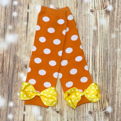 Orange/White Polka Dot Leg Warmers