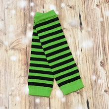 Neon Green/Black Stripe Leg Warmers