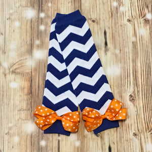 Royal Blue/White Chevron Leg Warmers