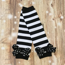 Black/White Stripe Leg Warmers