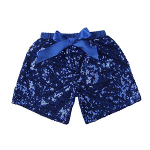 Girls Navy Sequin Shorts