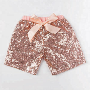 Girls Rose Gold Peach Sequin Shorts