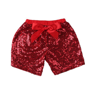 Girls Red Sequin Shorts