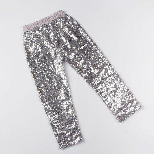 Girls Silver Sequin Pants