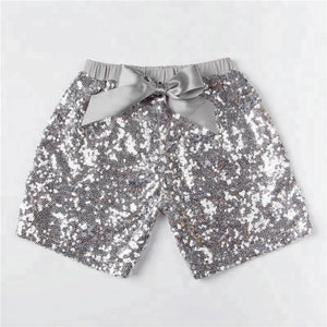 Girls Silver Sequin Shorts