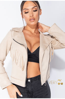 Suede Fringe Cropped Jacket