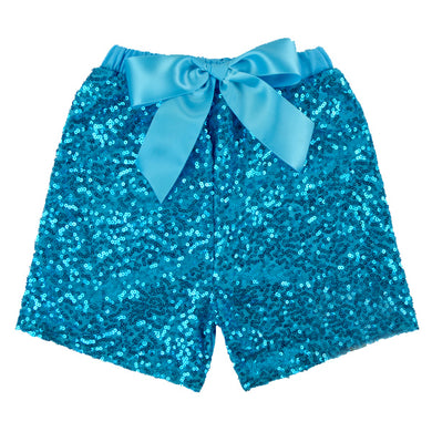 Girls Turquoise Sequin Shorts