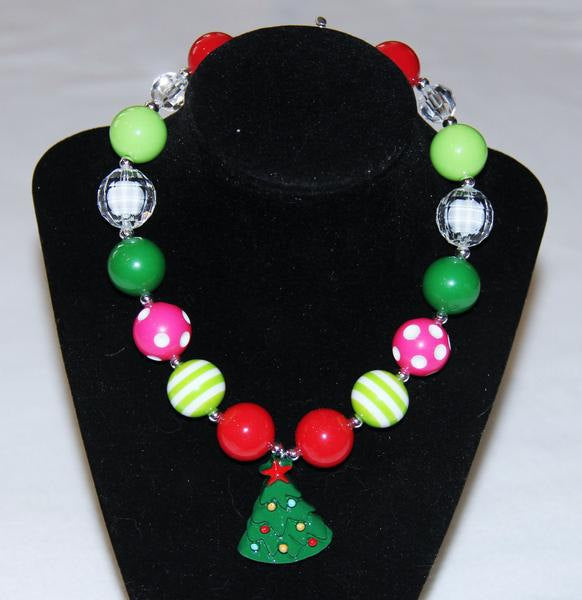 Christmas Tree Chunky Bubblegum Necklace