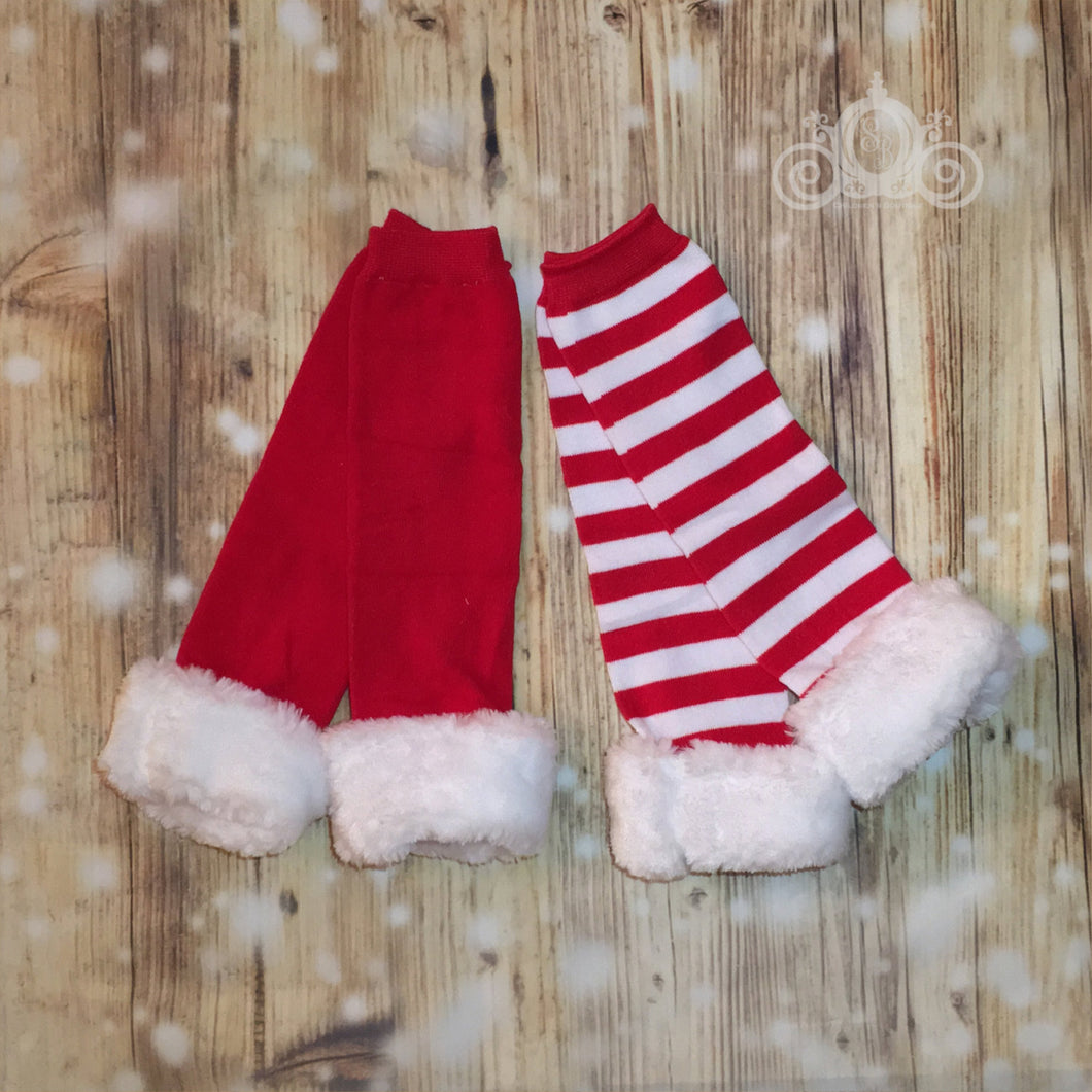 Santa Fur Trim Leg Warmers