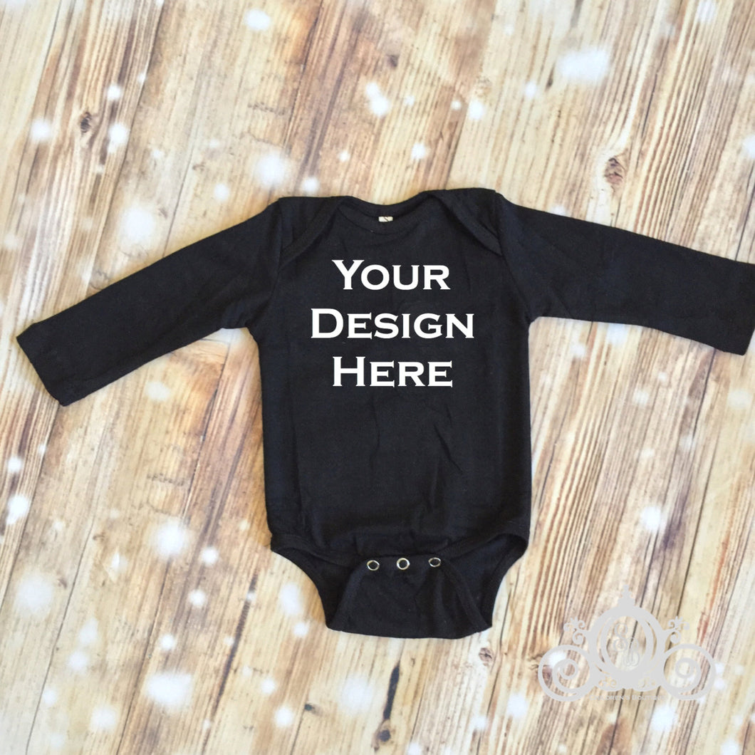 CUSTOMIZE ME! Black Long Sleeve Baby Onesie
