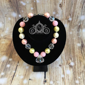 Pink & Gold Beaded Bubblegum Necklace