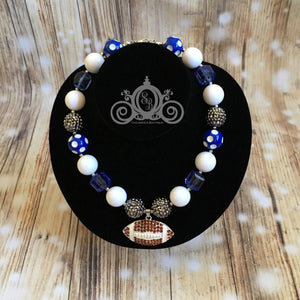 Blue & White Football Chunky Bubblegum Necklace